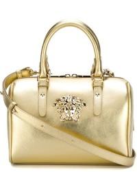 Bolsa tote de cuero dorada de Versace