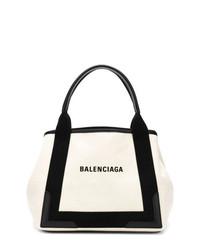 Bolsa tote de cuero en blanco y negro de Balenciaga