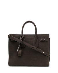 Bolsa tote de cuero en marrón oscuro de Saint Laurent