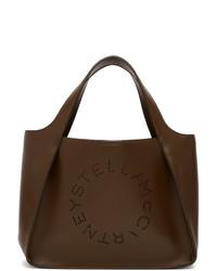 Bolsa tote de cuero en marrón oscuro de Stella McCartney
