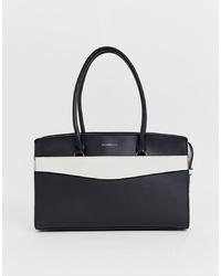 Bolsa tote de cuero en negro y blanco de Fiorelli