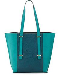 Bolsa tote de cuero en verde azulado