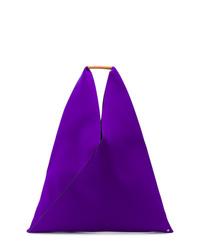 Bolsa tote de cuero en violeta de MM6 MAISON MARGIELA