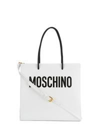 Bolsa tote de cuero estampada blanca de Moschino