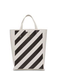 Bolsa tote de cuero estampada en blanco y negro de Off-White