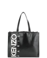 Bolsa tote de cuero estampada en negro y blanco de Kenzo