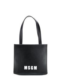 Bolsa tote de cuero estampada en negro y blanco de MSGM