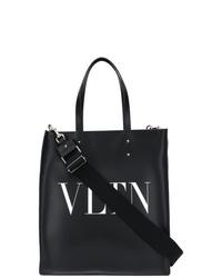 Bolsa tote de cuero estampada en negro y blanco de Valentino
