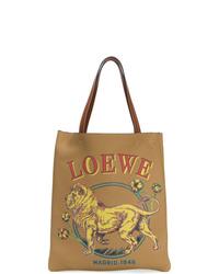 Bolsa tote de cuero estampada marrón claro de Loewe