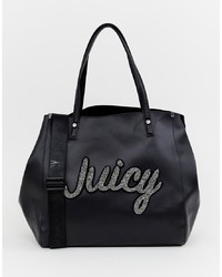 Bolsa tote de cuero estampada negra de Juicy Couture