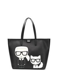 Bolsa tote de cuero estampada negra de Karl Lagerfeld