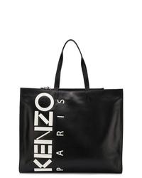 Bolsa tote de cuero estampada negra de Kenzo