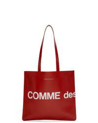 Bolsa tote de cuero estampada roja de Comme des Garcons Wallets