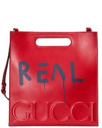 Bolsa Tote de Cuero Estampada Roja de Gucci