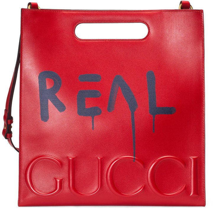 e09b6efcc Bolsa tote de cuero estampada roja de Gucci, €2,666   farfetch.com ...