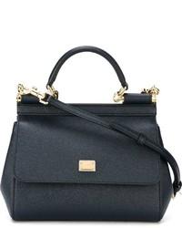 Bolsa Tote de Cuero Gris Oscuro de Dolce & Gabbana