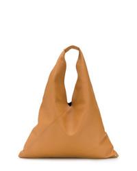 Bolsa tote de cuero marrón claro de MM6 MAISON MARGIELA
