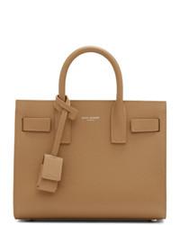 Bolsa tote de cuero marrón claro de Saint Laurent