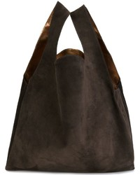Bolsa Tote de Cuero Marrón Oscuro de MM6 MAISON MARGIELA