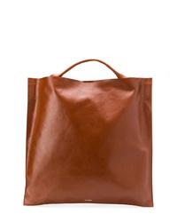 Bolsa tote de cuero marrón de Jil Sander