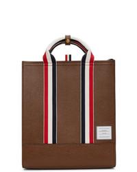 Bolsa tote de cuero marrón de Thom Browne