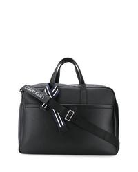 Bolsa tote de cuero negra de Calvin Klein
