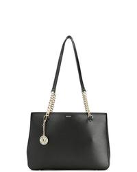 Bolsa tote de cuero negra de DKNY