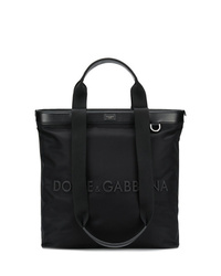 Bolsa tote de cuero negra de Dolce & Gabbana