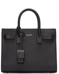Bolsa Tote de Cuero Negra de Saint Laurent