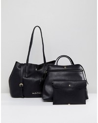 Bolsa tote de cuero negra de Valentino by Mario Valentino