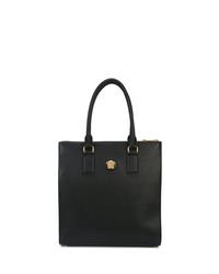 Bolsa tote de cuero negra de Versace