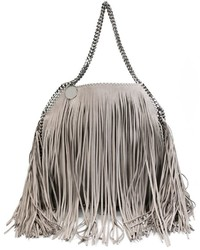 Bolsa tote de cuero сon flecos gris de Stella McCartney