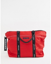 Bolsa tote de cuero roja de House of Holland