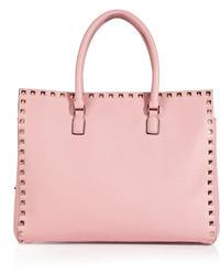 Bolsa tote de cuero rosada