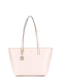 Bolsa tote de cuero rosada de DKNY