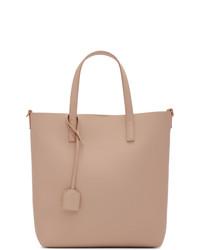Bolsa tote de cuero rosada de Saint Laurent