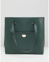 Bolsa tote de cuero verde oscuro de New Look