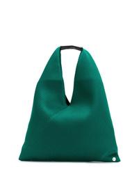Bolsa tote de cuero verde de MM6 MAISON MARGIELA