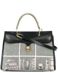 Bolsa Tote de Lana Estampada Negra de Olympia Le-Tan
