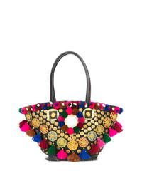 Bolsa tote de lona con adornos en multicolor de Figue