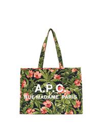 Bolsa tote de lona con print de flores verde oliva de A.P.C.