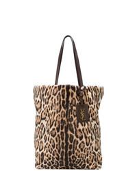 Bolsa tote de lona de leopardo marrón de Saint Laurent