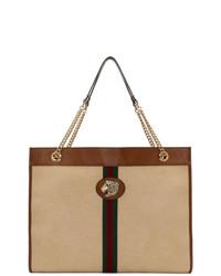 Bolsa tote de lona de rayas verticales marrón claro de Gucci