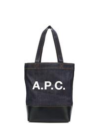 Bolsa tote de lona estampada en azul marino y blanco de A.P.C.