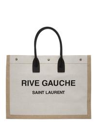 Bolsa tote de lona estampada en beige de Saint Laurent