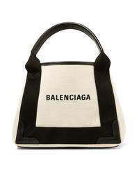 Bolsa tote de lona estampada en blanco y negro de Balenciaga