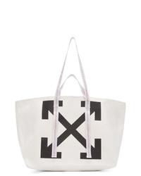 Bolsa tote de lona estampada en blanco y negro de Off-White
