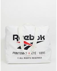 Bolsa tote de lona estampada en blanco y negro de Reebok