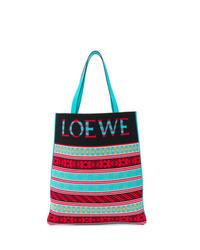 Bolsa tote de lona estampada en multicolor de Loewe