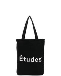 Bolsa tote de lona estampada en negro y blanco de Études